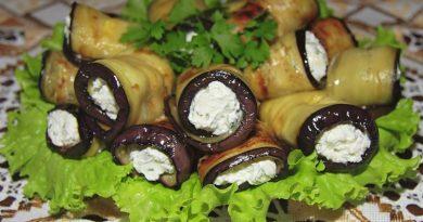 Рулетики из баклажанов с творожным сыром и грибами.