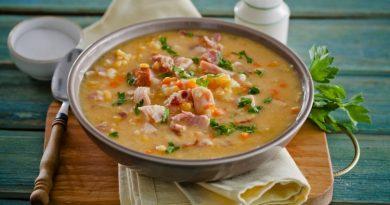Вкусный гороховый суп с копченостями