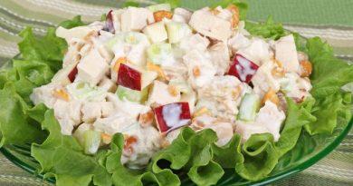 Яблочный салат с плавленым сыром