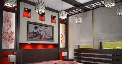 Японский стиль в спальной комнате
