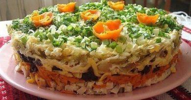 """Слоёный салат с черносливом """"Ночка"""""""