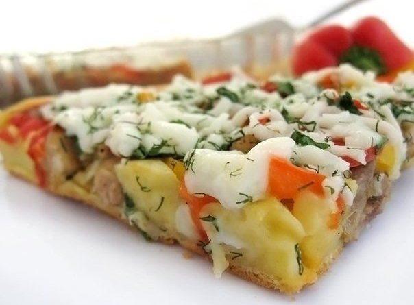 Открытый пирог с курицей и болгарским перцем!
