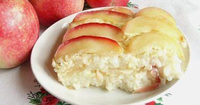 Рисовая бабка с яблоками в духовке