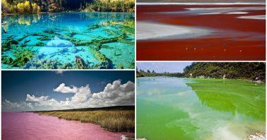 5 озер с водой удивительных оттенков.