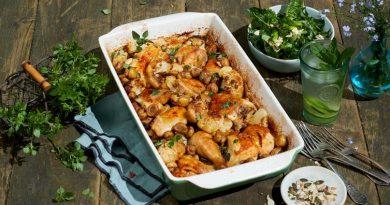 Цыпленок с цветной капустой и грибами