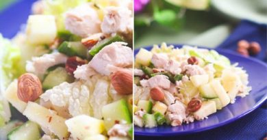 Салат с куриным филе, огурцами и орехами