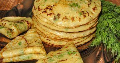 Рецепт сырных блинов с зеленью