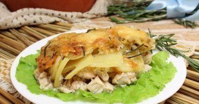 Куриное филе в духовке под картофелем