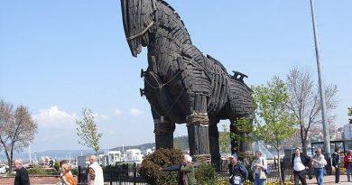 Турист залез на троянского коня со второй попытки и разбился
