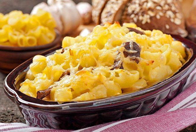 Рецепт быстрой макаронной запеканки с грибами