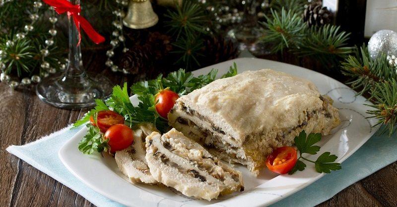 Рецепт рулета из куриного филе с грибами