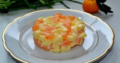 Простой салат с мандаринами и сыром