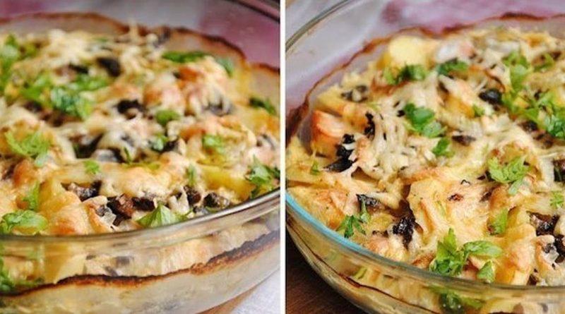 Картофельный гратен с курицей и грибами