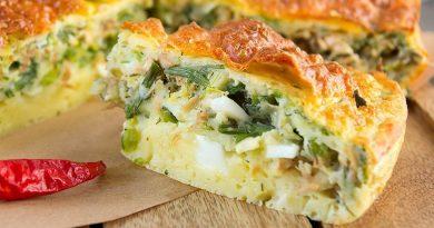 Заливной овощной пирог с сыром