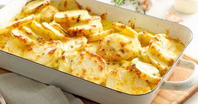 Вкусная картошка в духовке со сливками и сыром