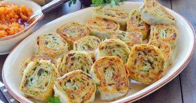 Рулетики из лаваша с картофелем, грибами и зеленью