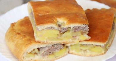 Сытный пирог с картофелем и фаршем