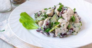 Салат с огурцами и фасолью