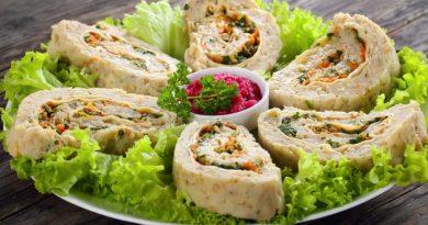 Рыбный рулет с сыром и зеленью