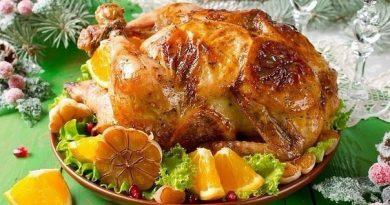 Курица, фаршированная апельсинами.
