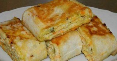 Хрустящая закуска из лаваша с овощами