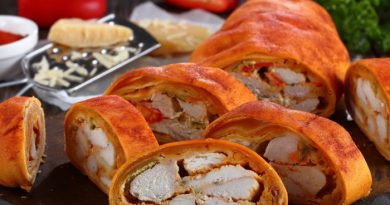 Штрудель с курицей, сыром и болгарским перцем