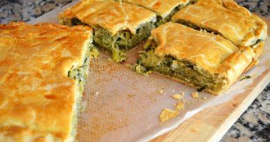Пирог на кефире с капустой и зеленью.