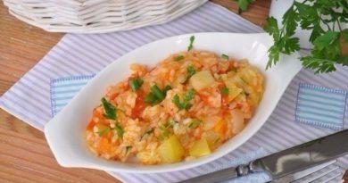 Кабачки с овощами и рисом