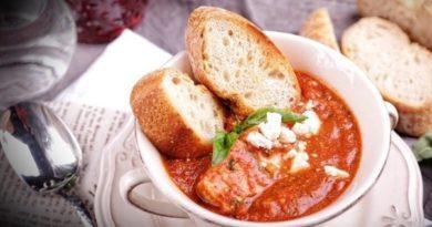 Треска в томатно-винном соусе с базиликом и фетой
