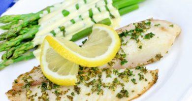 Филе рыбы под соусом из лимона и чеснока