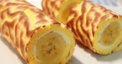 Домашний сливочный рулет с бананом