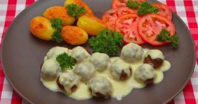 Мясные шарики под сливочным соусом