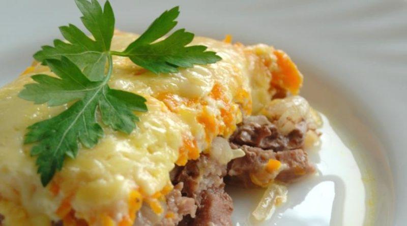 Говядина с овощами под сыром