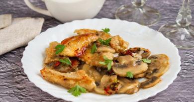 Куриная пиката с грибами