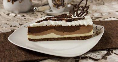 Трехслойный шоколадный чизкейк без выпекания