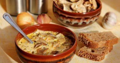 Сырные суп с грибами