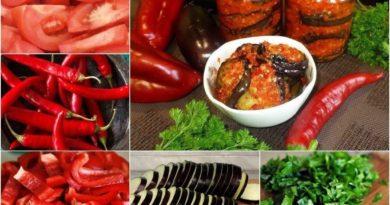 Баклажаны с помидорами и чесноком на зиму