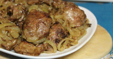 Куриная печень на сковороде с луком