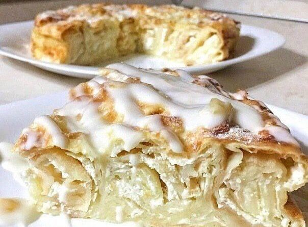 Пирог из лаваша с творожно-яблочной начинкой