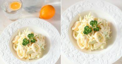 Легкий салат с кальмарами