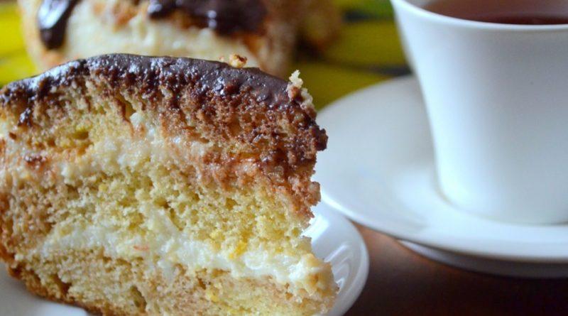 Торт творожно-лимонный с шоколадной глазурью