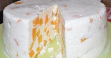 Творожный десерт «Старая Рига» с желатином и ананасами