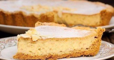 Пирог с творогом и бананом