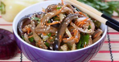 Баклажанный салат по-корейски: вкусный рецепт