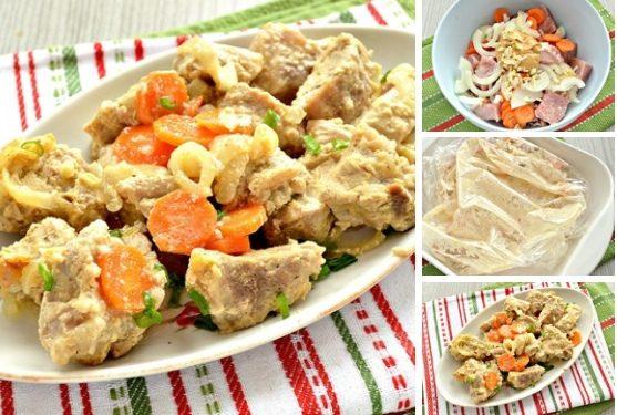 Свинина, запеченная в рукаве с овощами и горчицей
