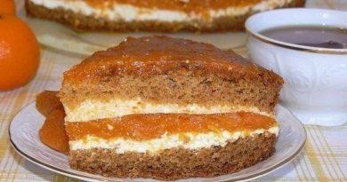 Торт с творогом и курагой