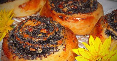Дрожжевые булочки с маком и орехами