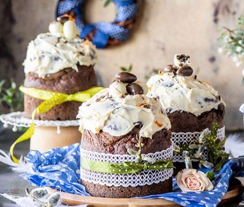 Шоколадно-творожный кулич с цитрусами