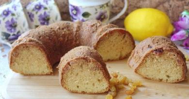 Простой лимонный кекс с изюмом