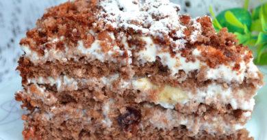 Шоколадно — ореховый торт со сметанным кремом